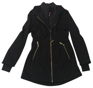 Betsey Johnson Softshell Rain And Gold Coat black Jacket