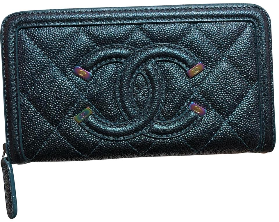 002ba814c12f12 Chanel Turquoise Filigree Zip Around Wallet - Tradesy