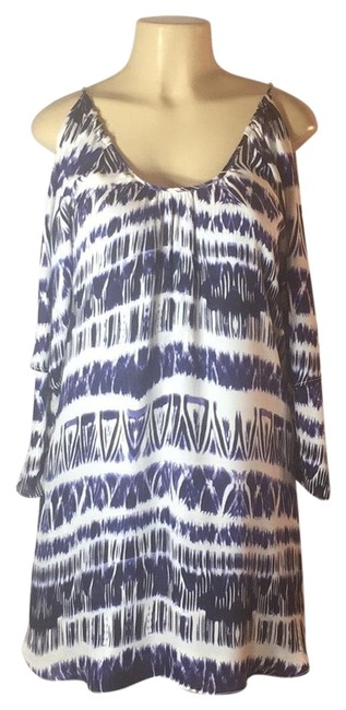 Item - Navy/White Cold Shoulder Short Night Out Dress Size 6 (S)