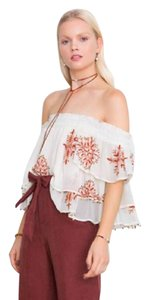 Chan Luu Off The Shoulder Viscose Embroidered Top