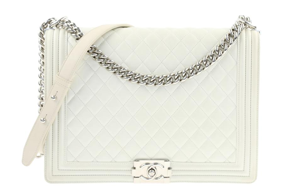 Chanel Boy Large Metallic White Calfskin Leather Shoulder Bag - Tradesy e5572fb4bc283