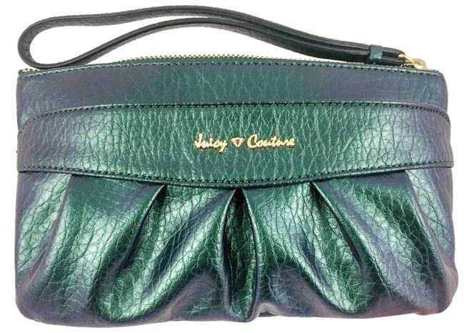 Item - Jc 700 Ruched Iridescent Green/Blue Blue Green Faux Leather Wristlet