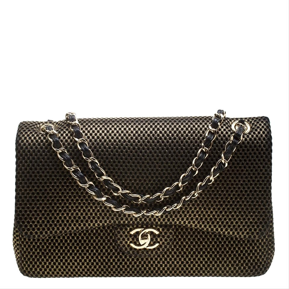 2f22008834d4 Chanel Double Flap Black Perforated Classic Jumbo Gold Jersey Shoulder Bag