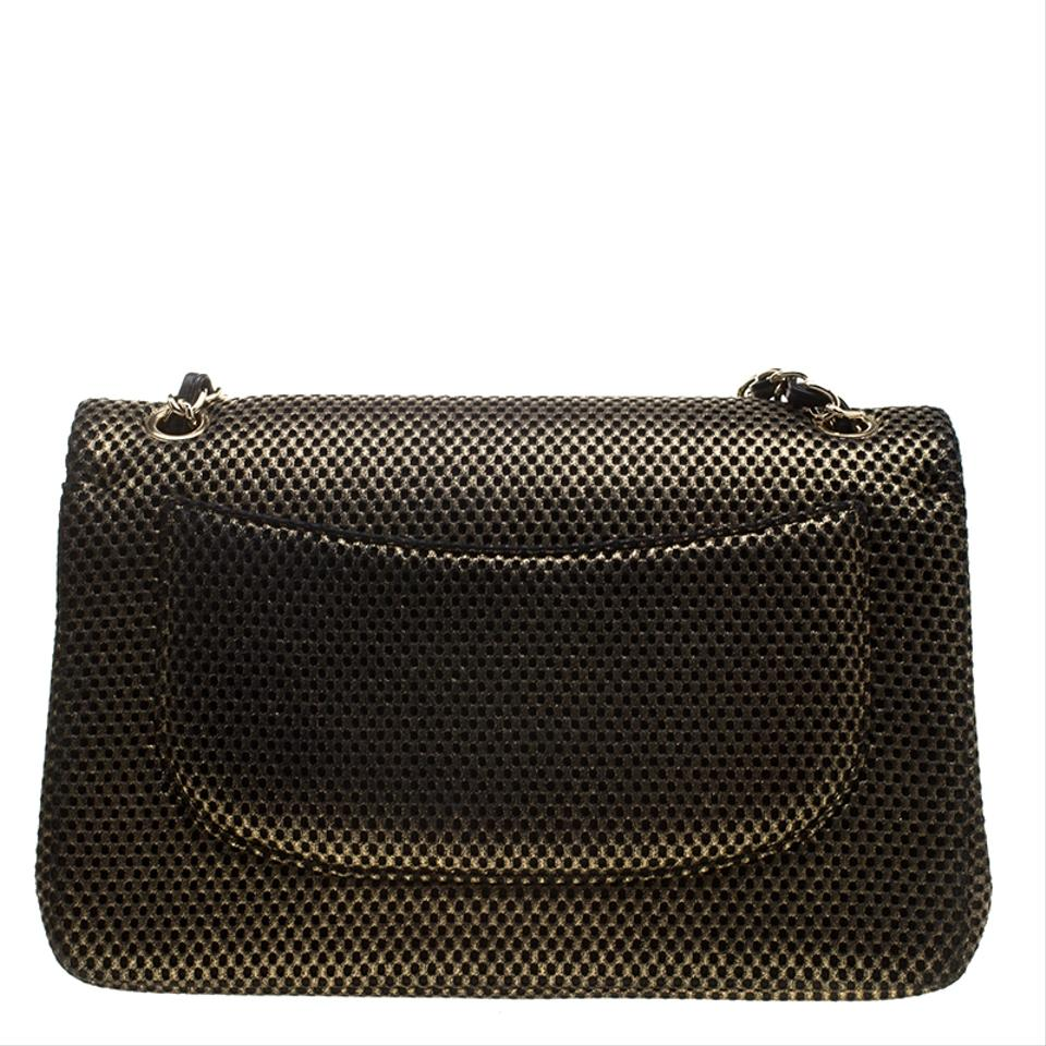 87eb93da2ad2 Chanel Double Flap Black Perforated Classic Jumbo Gold Jersey Shoulder Bag
