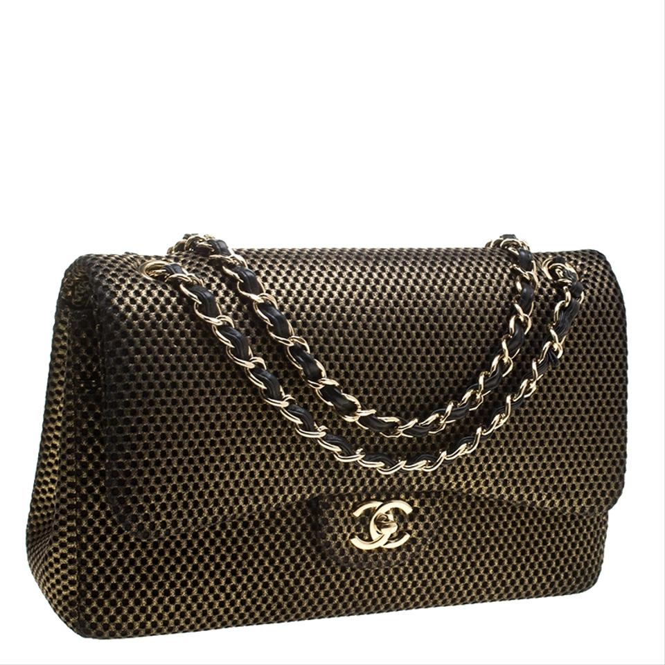 ef050197e17a Chanel Double Flap Black Perforated Classic Jumbo Gold Jersey Shoulder Bag  - Tradesy