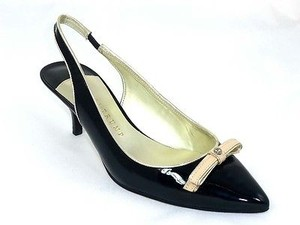 Ivanka Trump Violet Womens Patent Leather Slingbacks Heels Black Pumps
