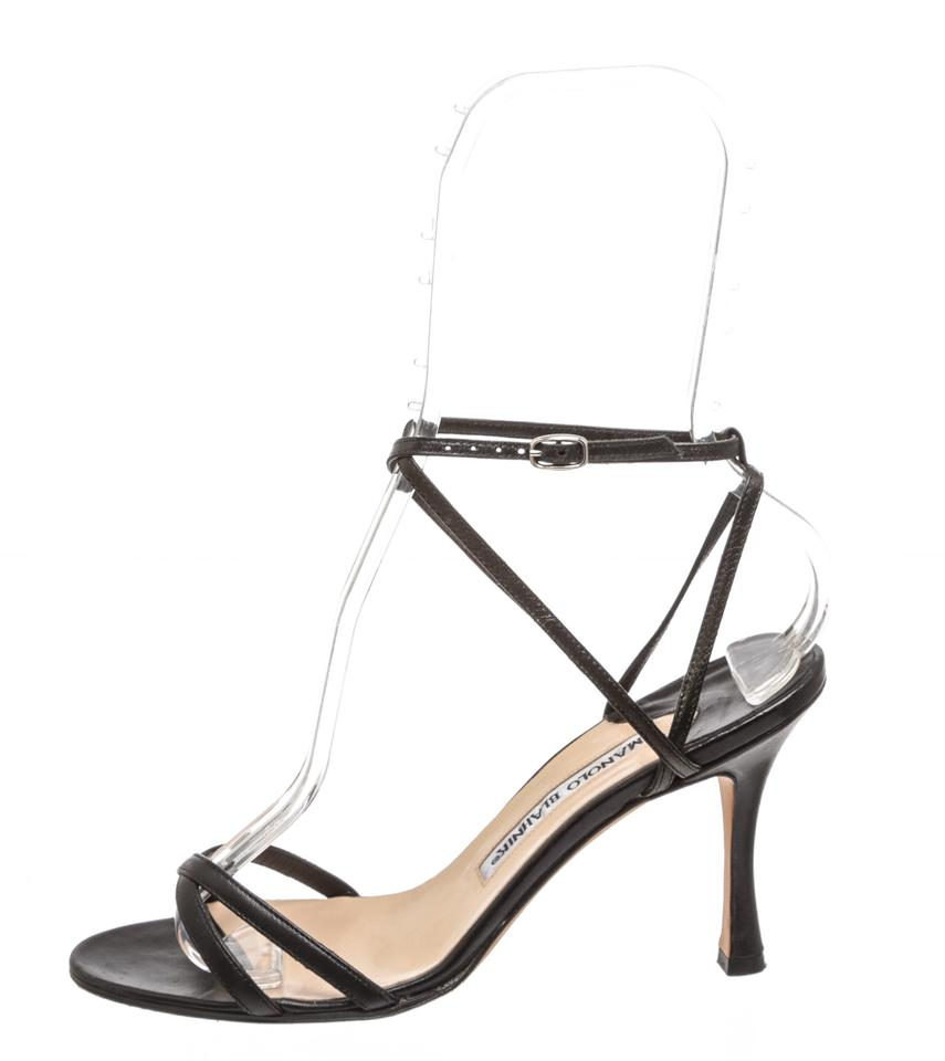 Leather 483963 Black Manolo Blahnik Strappy Sandals S0aEx4qw