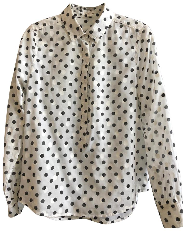 f9bb9fe6 J.Crew Black and White Polka Dot Button Down Blouse Size 6 (S) - Tradesy