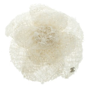 Chanel White Camellia Tweed Flower Pin Brooch