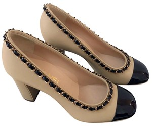 Chanel Metal Chain Heel Beige Black Gold Pumps