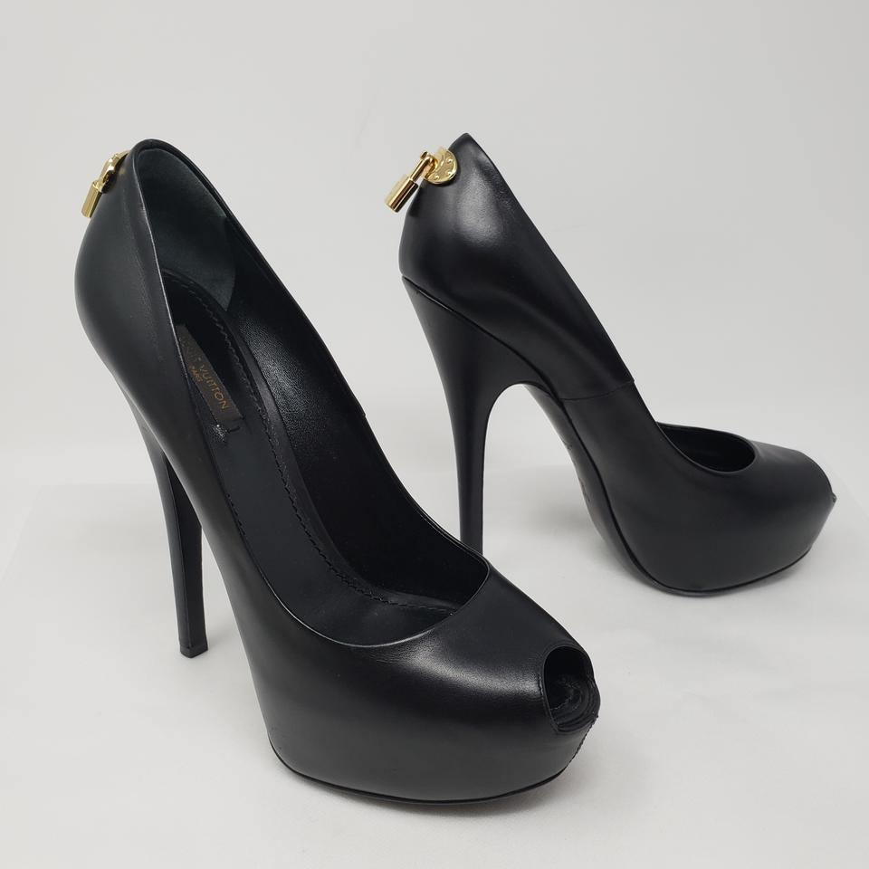 2b018592c540 Louis Vuitton Black Leather Oh Really Platform Pumps Size EU 39.5 (Approx.  US 9.5) Regular (M