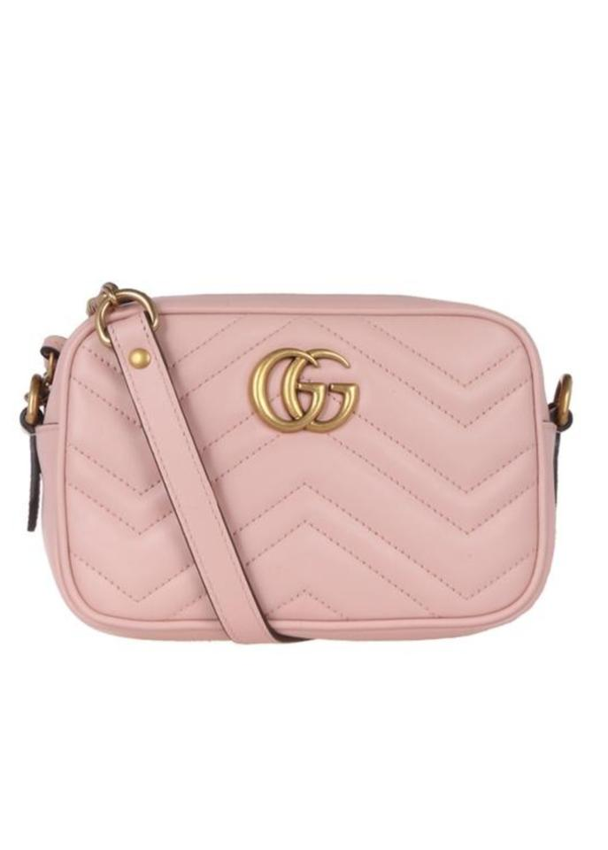 1149bf28d Gucci Marmont Quilted Mini Light Pink Leather Cross Body Bag - Tradesy