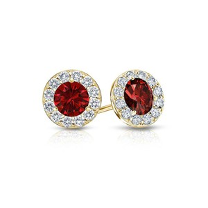 DesignerByVeronica July Birthstone Ruby and CZ Halo Stud Earrings 18K Yellow Gold Vermeil