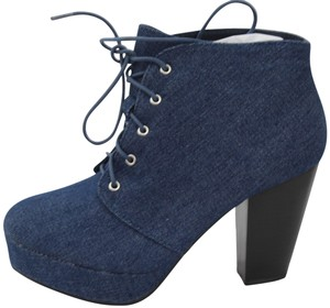 Forever Ankle Denim Tie Closure Block Heel Size 5.5 Blue Boots