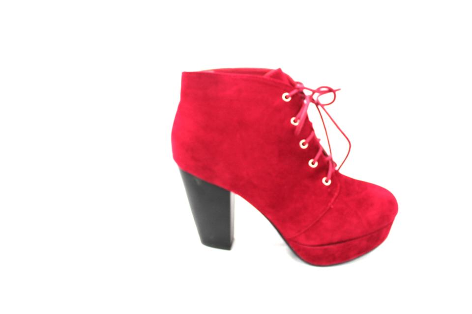 9fc7d24e77 Forever Burgundy Ankle Tie Closure Block Heel Camille 86 Boots ...