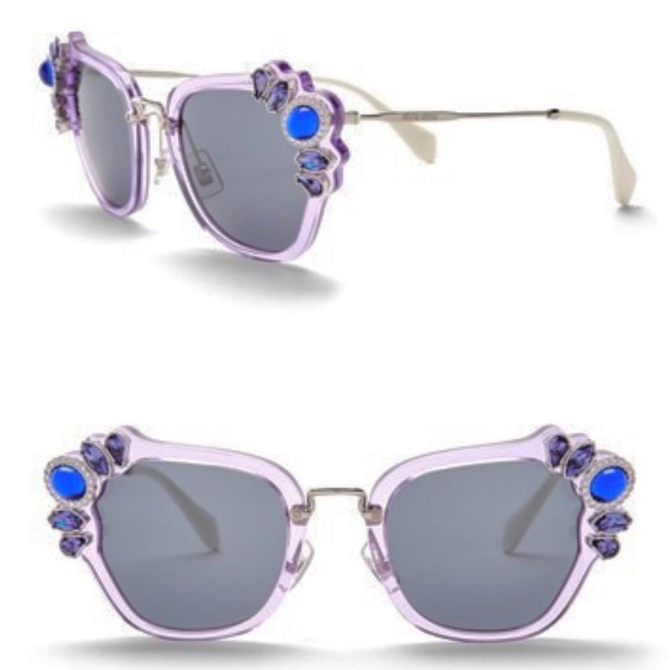 fff73db624 Miu Miu Purple Multi Embellished Cat Eye 51mm Sunglasses - Tradesy