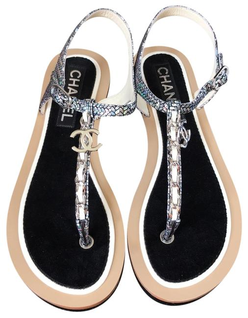 Item - Silver Thongs Metallic White Chain Flats Sandals Size EU 36.5 (Approx. US 6.5) Wide (C, D)