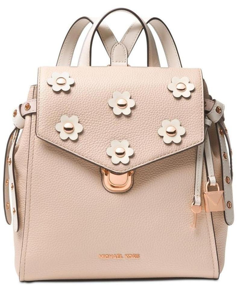 373e7c6fc3c4 MICHAEL Michael Kors Bristol Flower Small Soft Pink Cream Leather Backpack