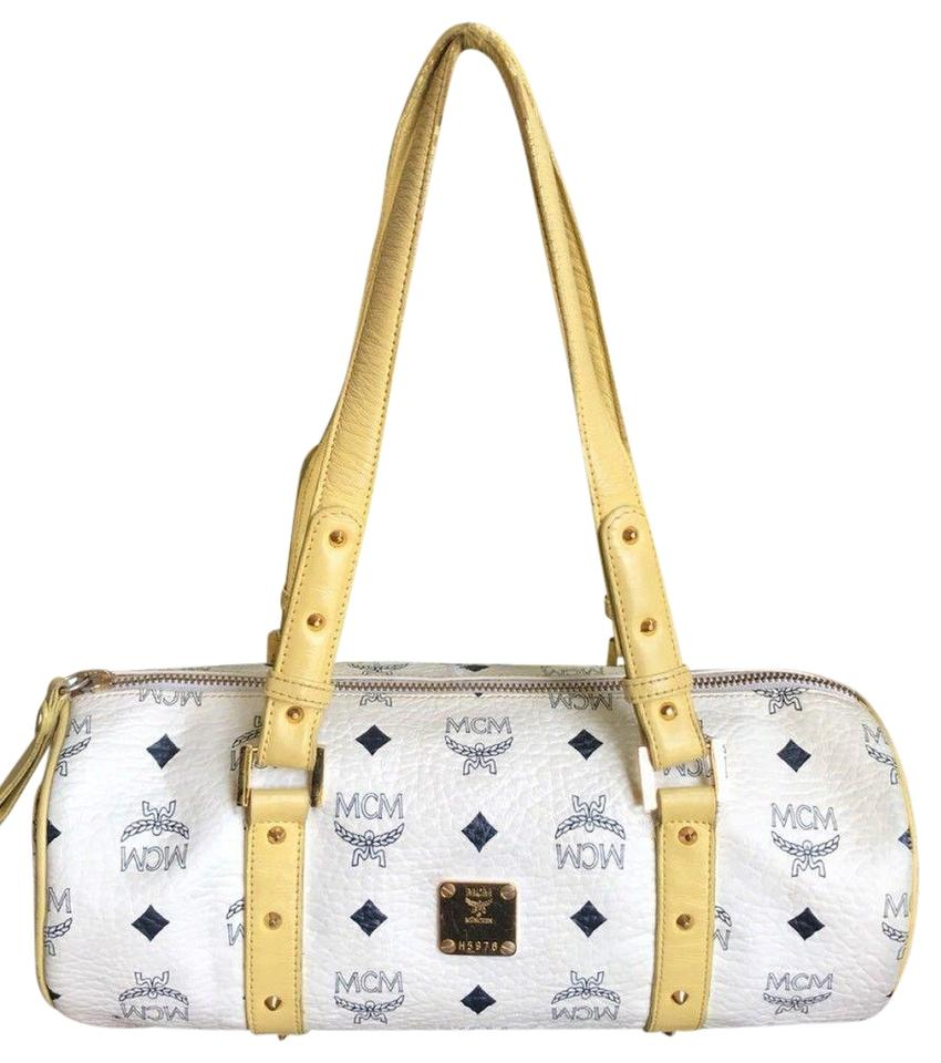 d2beb92853 MCM Vintage Visetos Studded Barrel Tube Round White Light Yellow ...