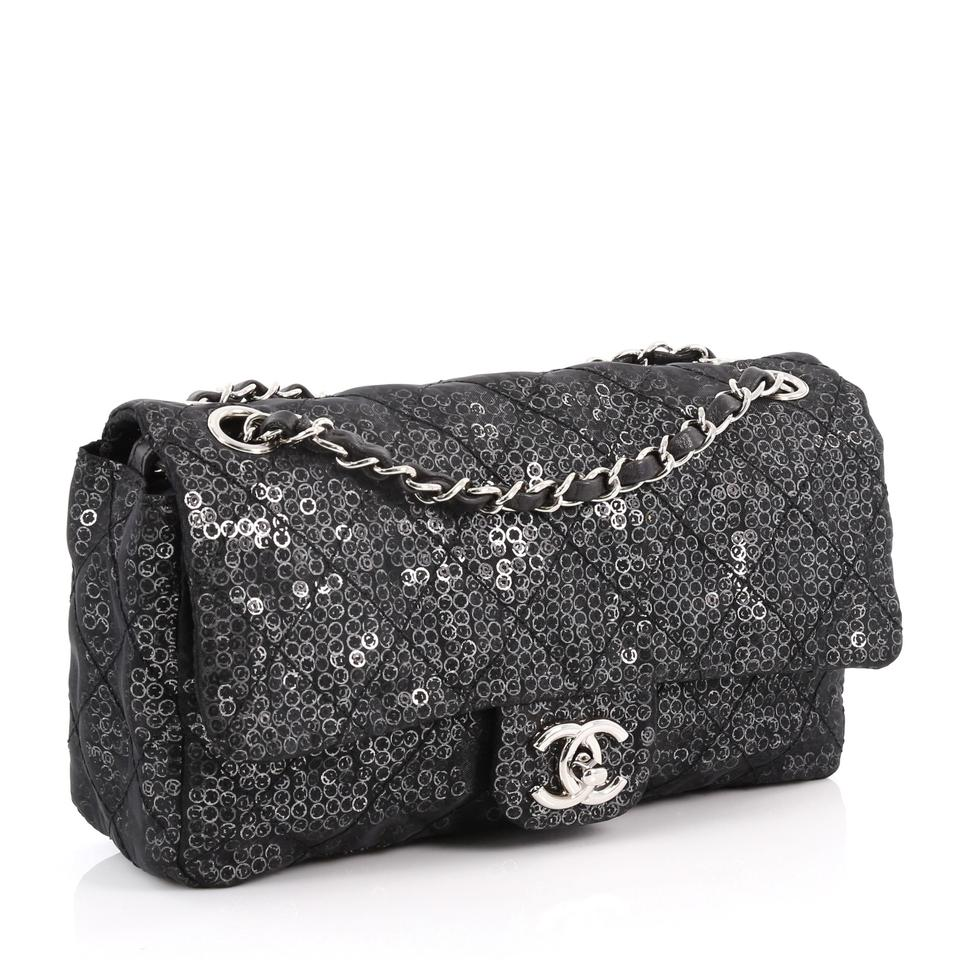 28d16ff7bd45a Chanel Classic Flap Hidden Mesh Medium Black Sequins Shoulder Bag