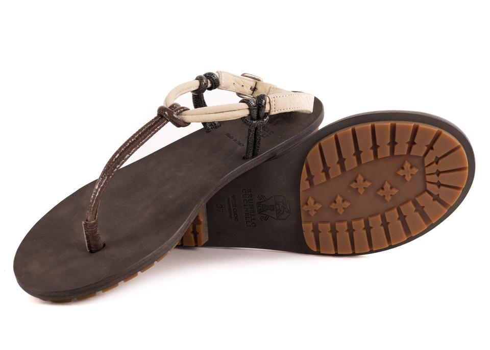 Multicolor Tri Cucinelli Sandals Brown Thong Brunello Leather Color w5qxd6S