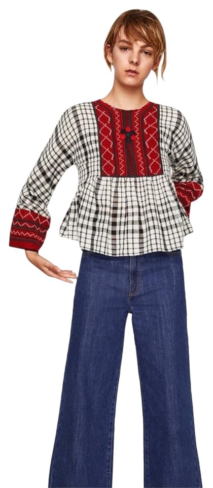 daad1a0cd41 Zara Multicolor Embroidered Checkered Long Sleeve Bell Blouse Size 2 ...