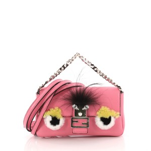 Fendi Baguette Leather And Fur Satchel in pink