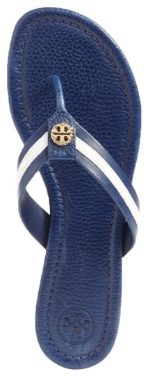 1e234af81d5 Tory Burch Navy Sea White Maritime Thong Sandals Size US 6.5 Regular ...