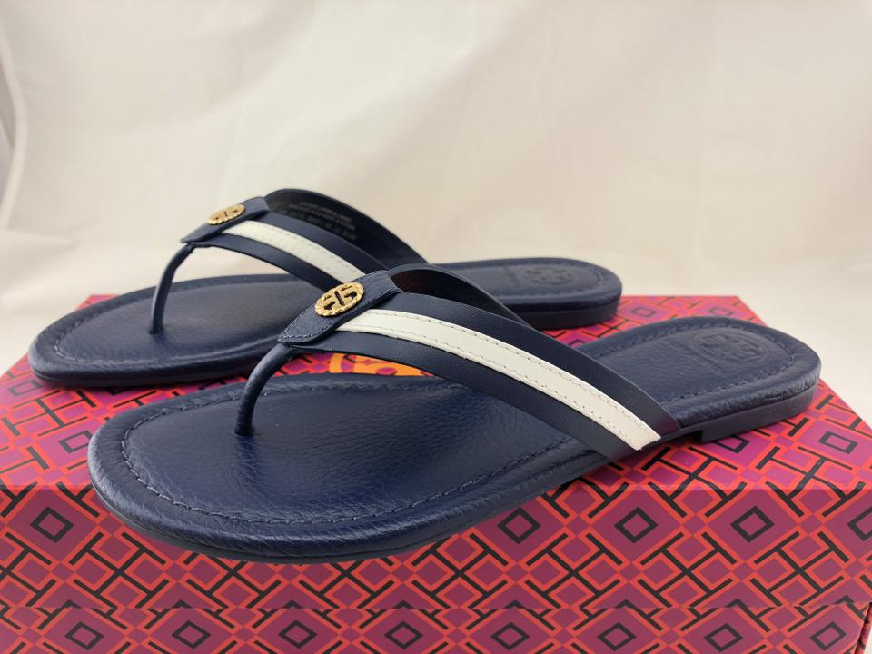 e77d3dbf993 Tory Burch Maritime Miller Leather Navy Sea White Sandals Image 7. 12345678