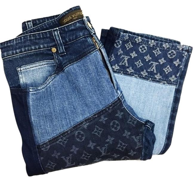 Item - Blue Patchwork Straight Leg Jeans Size 27 (4, S)