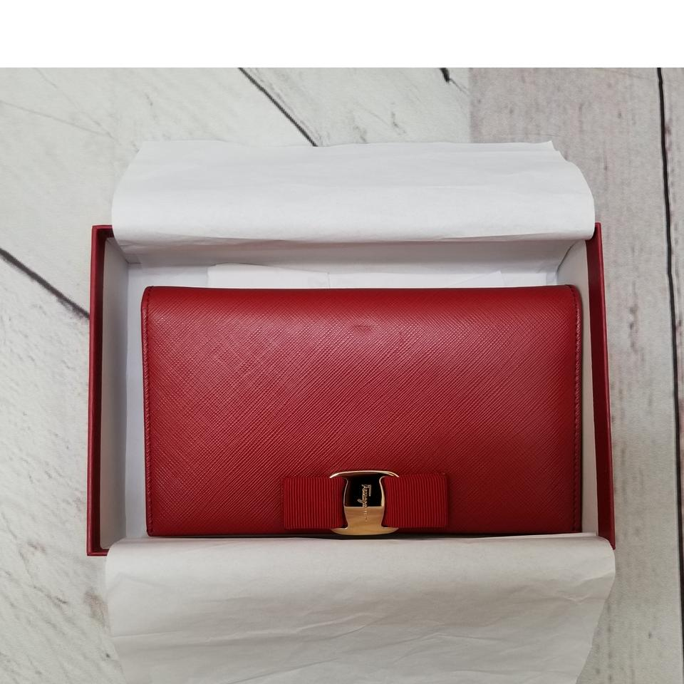 Salvatore Ferragamo Miss Vara Bow Wallet On Chain Red Ref Saffiano Leather Cross  Body Bag dcef5d890f126