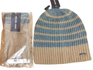 Michael Kors Michael Kors Marl Stripe Slouchy Beanie and glove set Hat