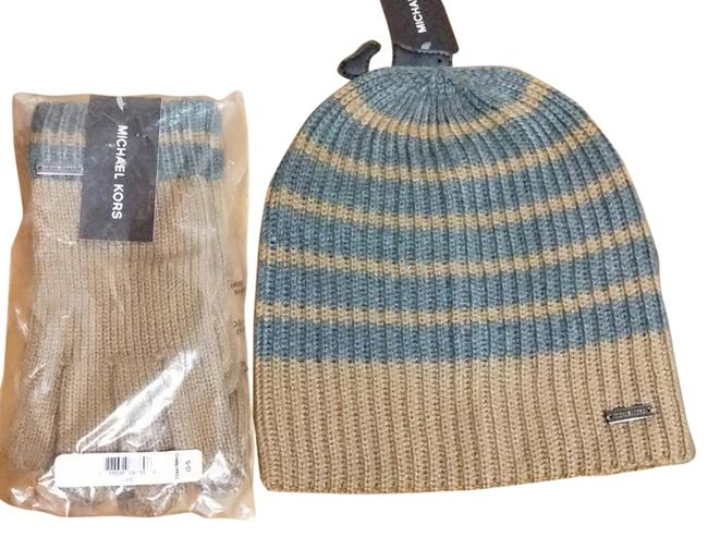 Item - Camel Gray Marl Stripe Slouchy Beanie and Glove Set Hat