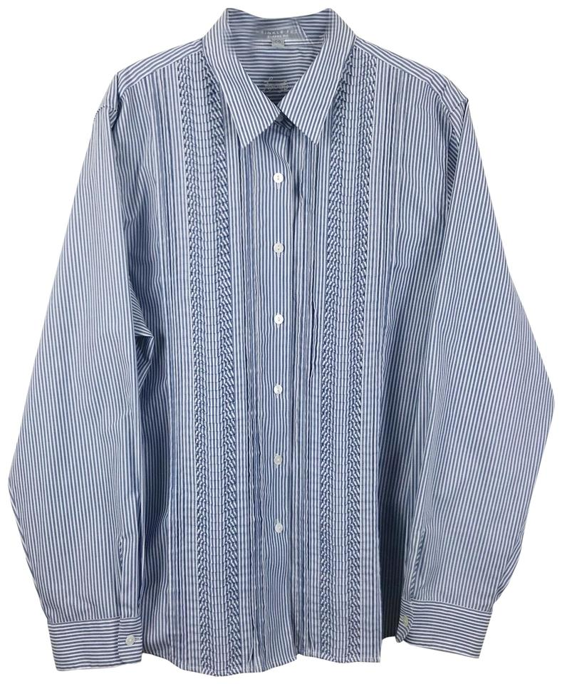 49ee210c Foxcroft Blue Striped Pleated Wrinkle Free Shaped Fit Button-down Top