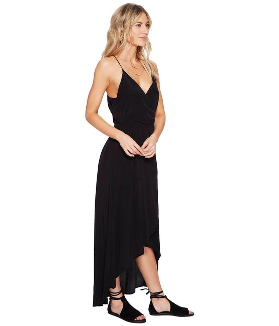 Lucy Love Black Spaghetti Strap Wrap Midi Mid Length Formal Dress