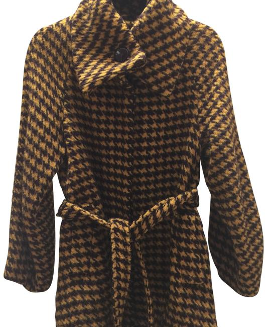 Item - Brown/Dark Yellow Houndstooth W/Silver Shimmer Alpaca Wool Coat Size 8 (M)