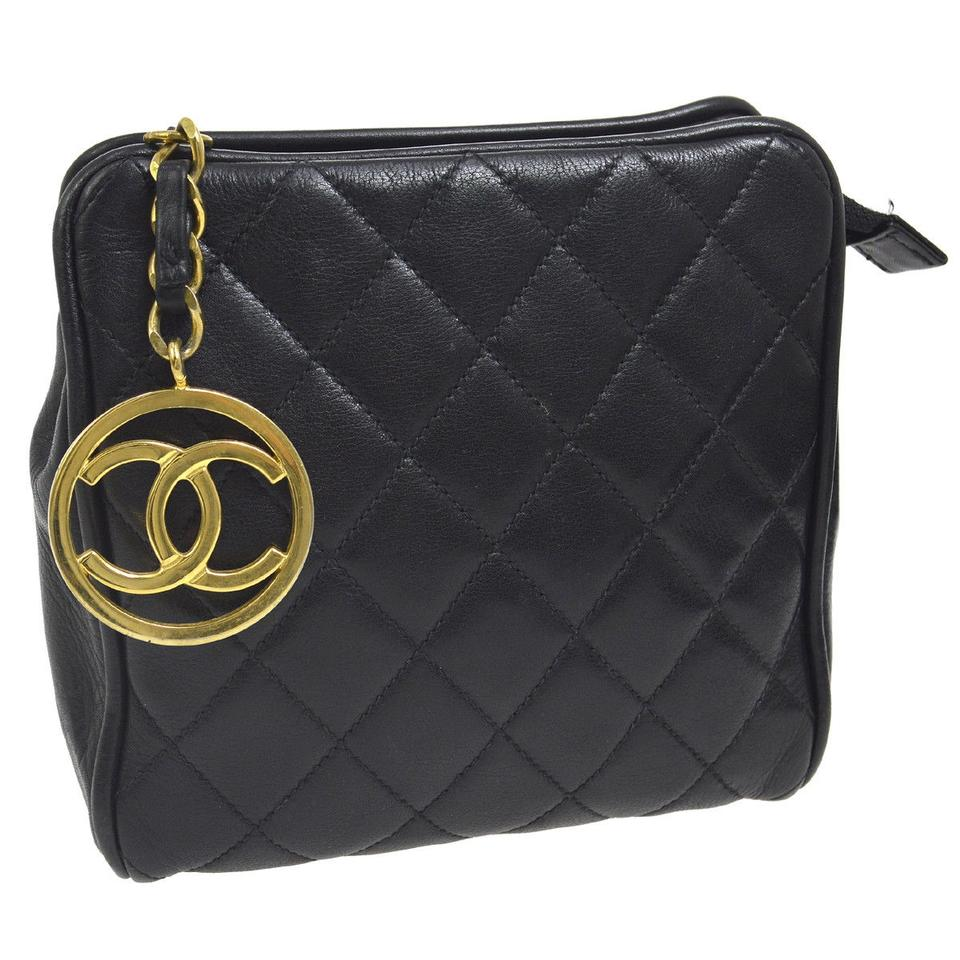 7d71c618e Chanel Waist Bag Mini Quilted Bum Fanny Pack Belt Black Lambskin Leather  Clutch