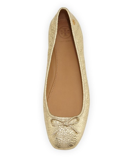 Tory Burch Laila Ballet Leather Gold Flats