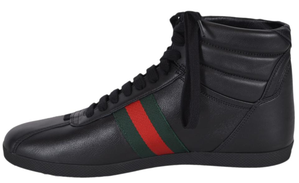 994354cbc8c Gucci Black Men s 429475 Leather Red Green Web High Tops U.s Sneakers Size  US 8.5 Regular (M