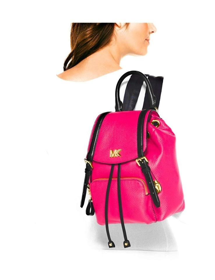 7d62e659ca3a MICHAEL Michael Kors Mott Beacon Small Ultra Pink/Black Leather Backpack