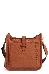 Rebecca Minkoff Whipstitch Leather Unlined Feed Cross Body Bag