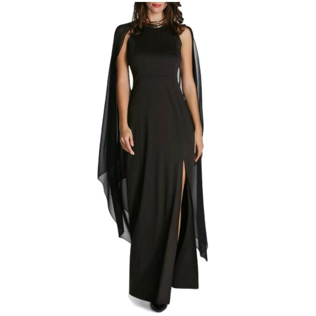 Black Cape Sleeves With Front Slit Maxi Long Formal Dress