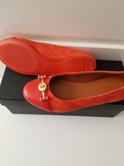 Coach Leather Ballet Suede Orange/Red Flats