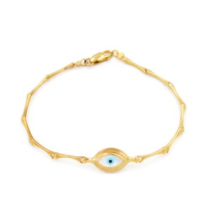 Handmade 10K Yellow Gold Evil Eye Bracelet 7