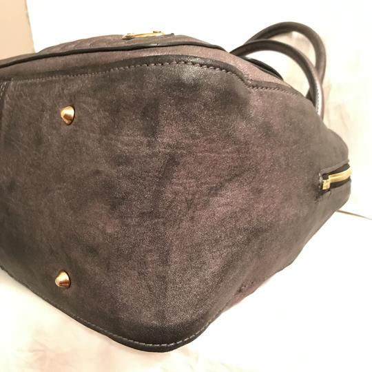 Chloé Purse Handbag Satchel Distressed Quilted Tote in Gunmetal Silver Gray Pewter