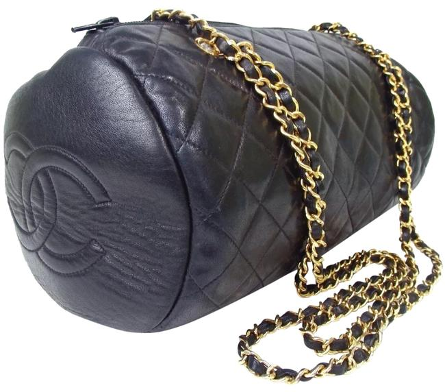 Chanel Quilted Double Chain Black Leather Shoulder Bag Chanel Quilted Double Chain Black Leather Shoulder Bag Image 1