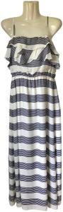 Daniel Cremieux Ruffle Elastic Waist Striped Dress