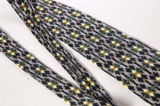 Paolo Gucci Paolo Gucci Men's Navy & Yellow Graphic Pattern Silk Tie