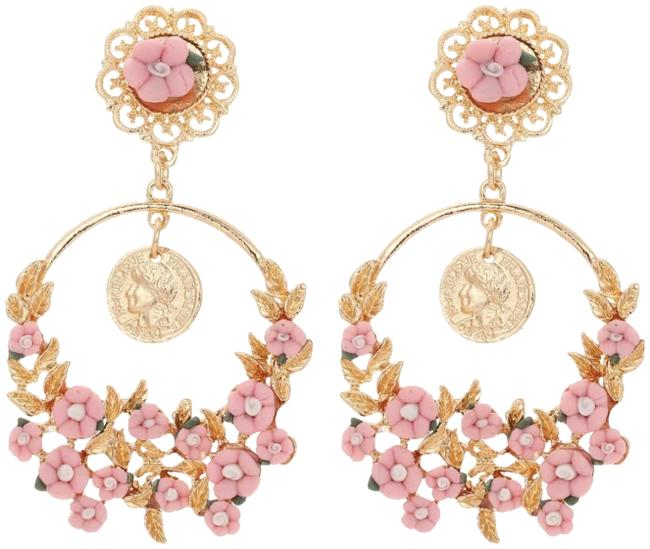 Pink and Yellow Gold New Flower Bohemian Earrings Pink and Yellow Gold New Flower Bohemian Earrings Image 1