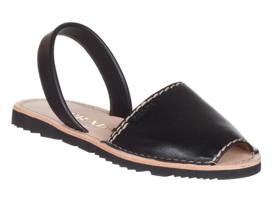 Prada Black Women's Women's Black Leather Flats Sandals f00fbf